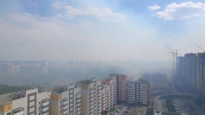 Загоревшиеся камыши на берегу Миасса окутали город дымом