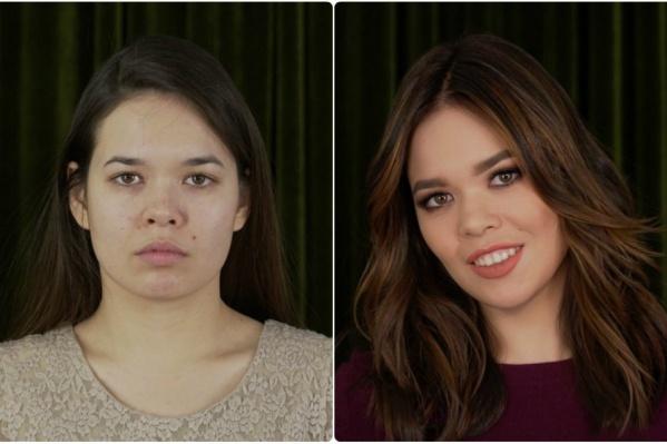 Слева Айсылу до участия в проекте, справа — после