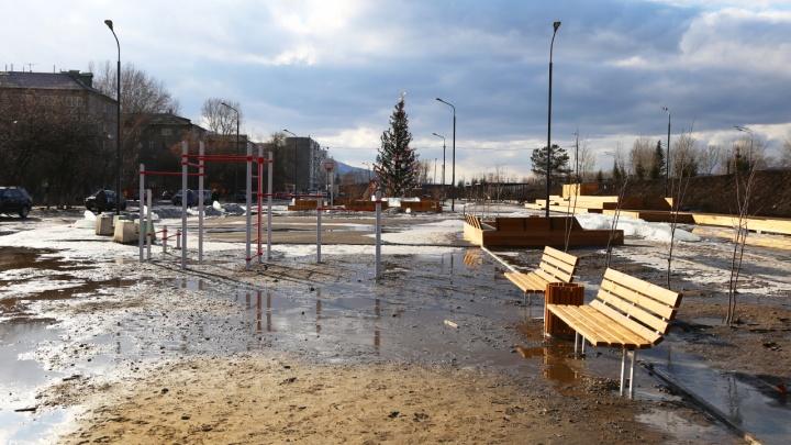 Новый сквер за 27 миллионов на Свердловской превратился в грязевое болото