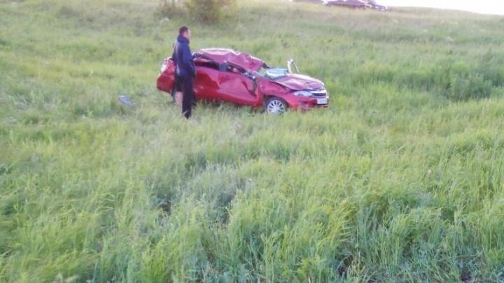 В Башкирии пьяный водитель без прав  улетел в кювет