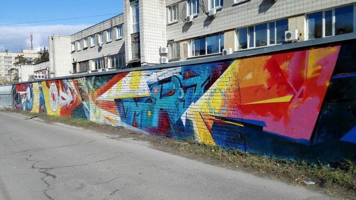 Коллайдер и пещерный человек: в Академгородке появились новые граффити