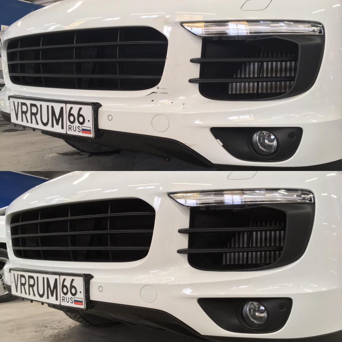 Локальное восстановление ЛКП переднего бампера на Porsche Cayenne