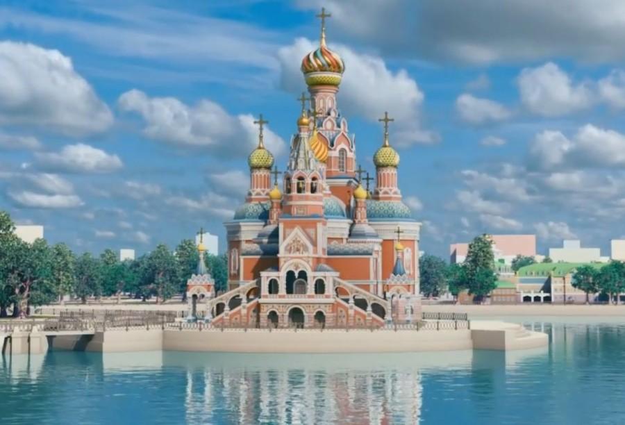 Так выглядел проект храма, когда его хотели разместить на воде