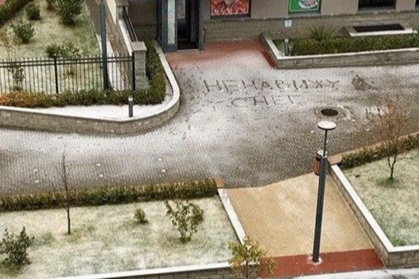 Кто-то прямо заявил о своем отношении к снегу. Автор надписи, вы правда так думаете? Честно-честно?
