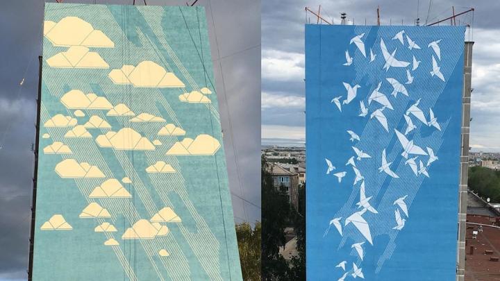 Птицами взмыли в небо: фасад разрушенного взрывом дома в Магнитогорске украсили граффити
