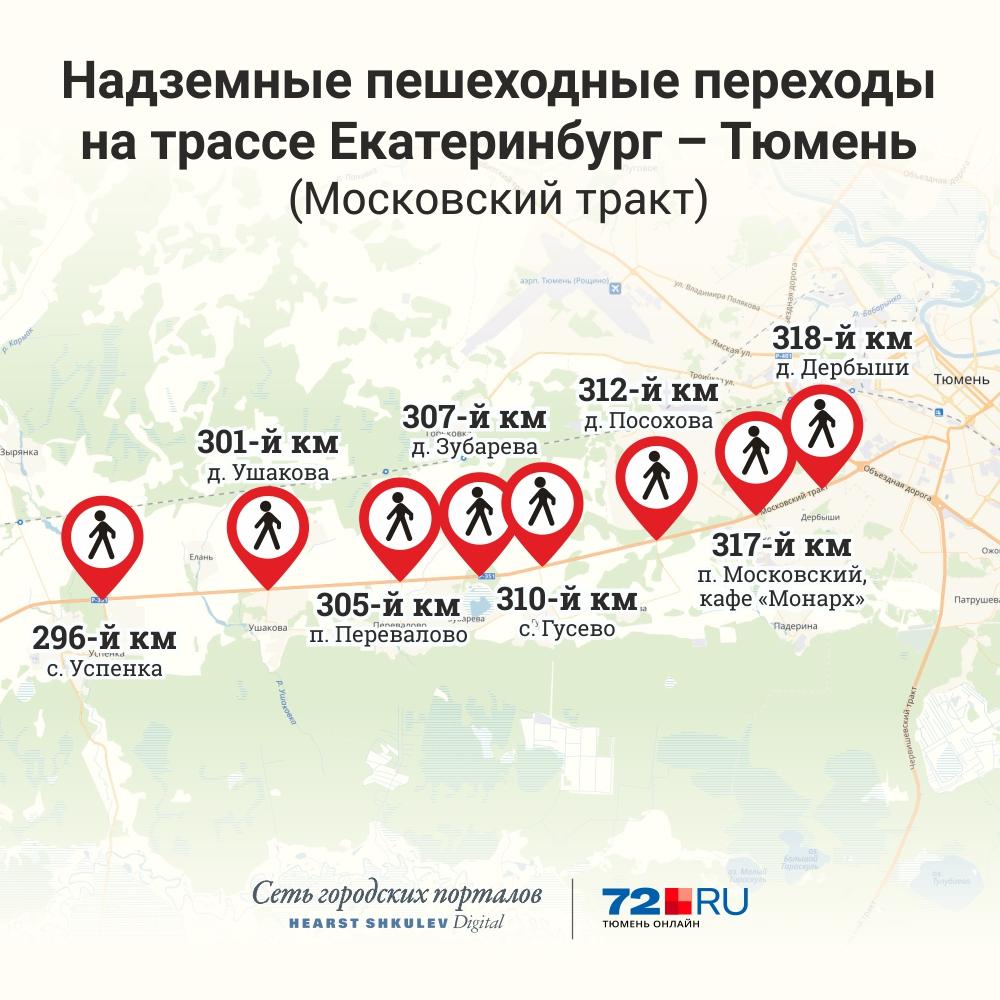 Под Тюменью за ночь появится три надземных перехода, трассу перекроют. Смотрим пути объезда