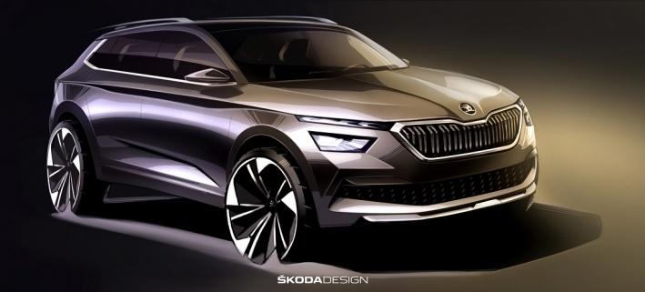 SKODA Kamiq показали пока в виде дизайнерского скетча, но через месяц мы увидим и готовую модель