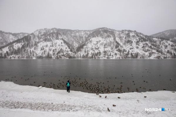 Погода все равно остается комфортной для прогулок — в этом году крещенские морозы обошли стороной Красноярск