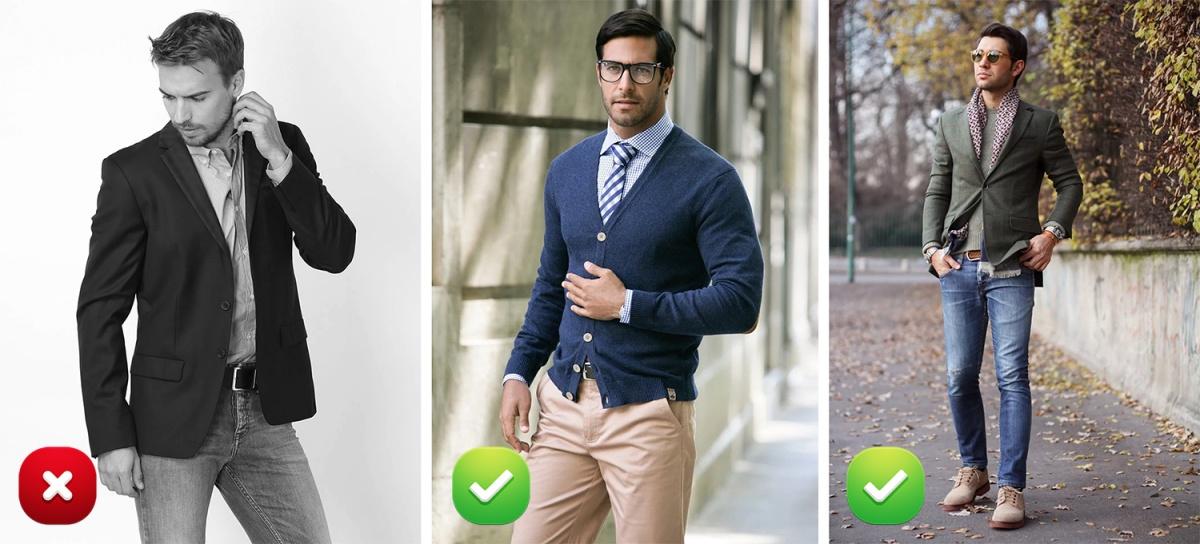 Кардиган с костюмом не носят.   Только с пиджаком и деловыми брюками (можно и без пиджака), которые не состоят в костюмной паре. Когда собираетесь на работу, не забудьте «правило третьей пуговицы», которое также распространяется и на кардиган