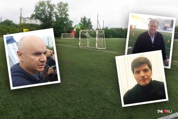 Отец юного футболиста (на фото слева) недоволен состоянием стадиона и винит во всём оптимизацию и директора спортшколы (на снимке в правом верхнем углу)