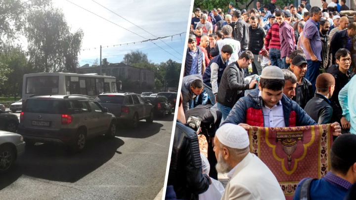 Центр Ярославля встал в пробки из-за мусульманского праздника: онлайн-трансляция