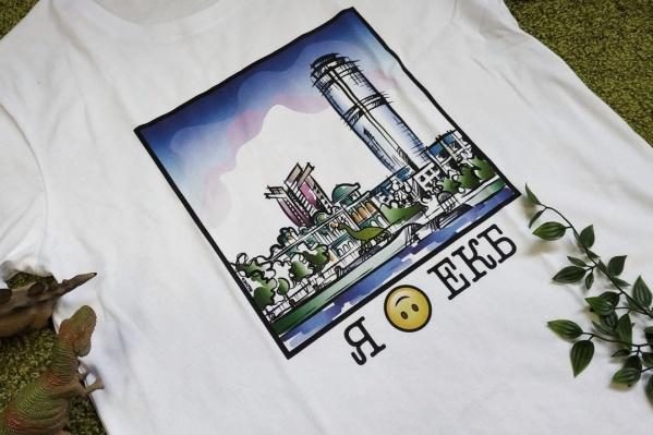Одна из футболок с небоскрёбами «Высоцкий» и «Антей»