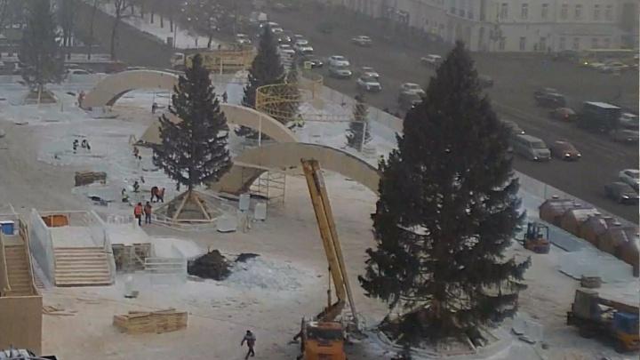 На площади 1905 года поставили главную 21-метровую ёлку