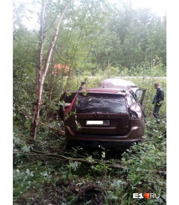 Машина улетела в лес