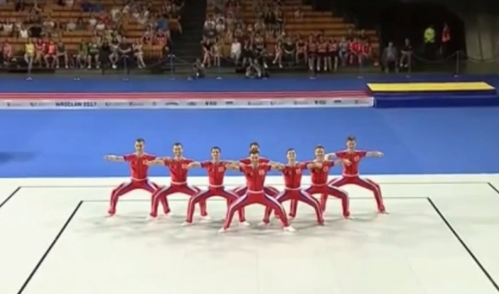 Фрагмент выступления сборной России по спортивной аэробике