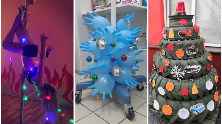 Девушка на шесте и дерево из автомобильных шин: подборка необычных офисных ёлок Екатеринбурга