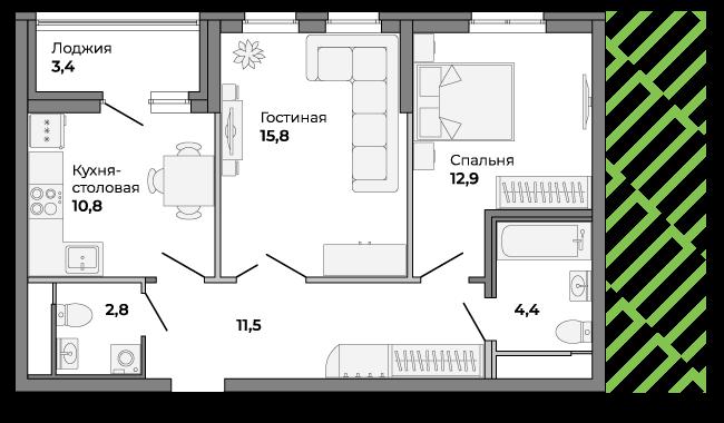 В такой квартире запроектированы два санузла и выделенная гардеробная зона в коридоре