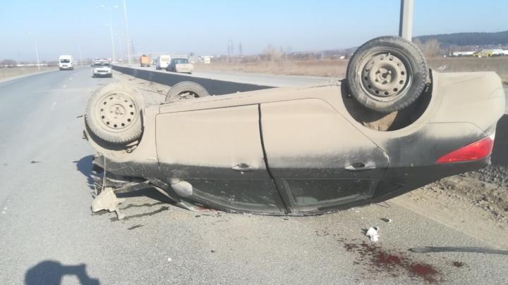 В Перми ищут водителя, из-за которого на Южном обходе перевернулся Hyundai