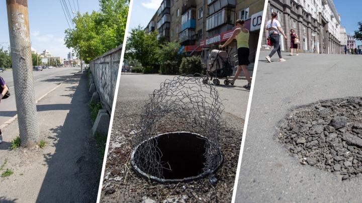 И так сойдёт: тротуары в Челябинске превратили в полосы препятствий с лужами и ямами-ловушками