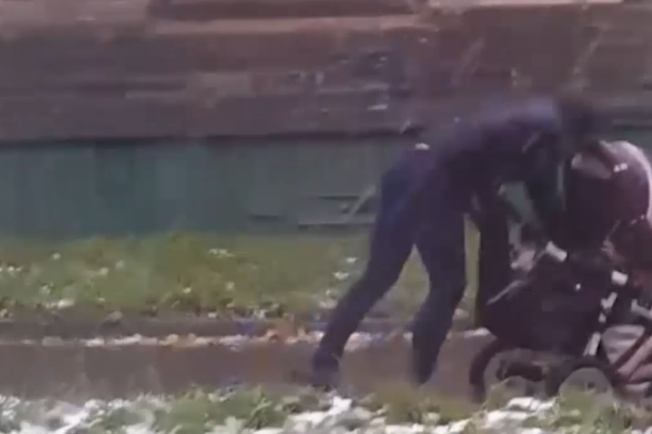 Перед тем как ударить коляску, женщина рылась в траве