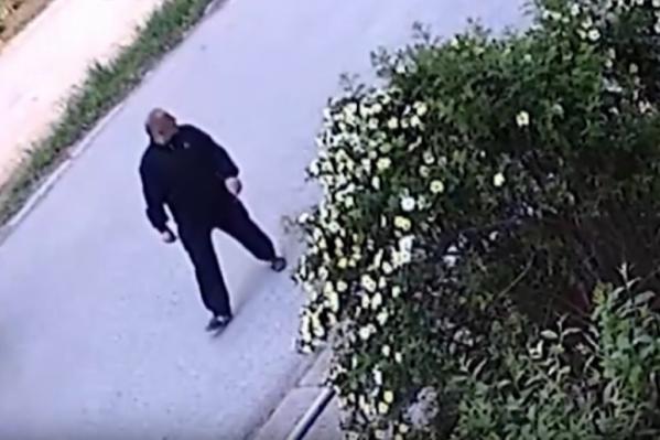 Здесь видно, как мужчина подходит к дому, где и совершил нападение