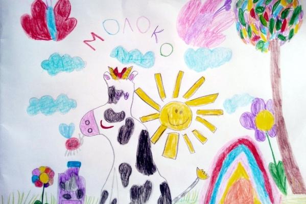 Детки-участники конкурса старались и рисовали коров и молоко, чтобы их разместили на упаковках