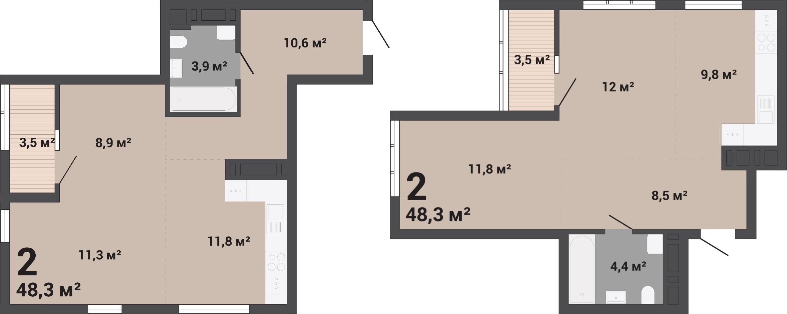 Двухкомнатные квартиры идеально подойдут как для молодых семей, так и для пар с детьми<br>