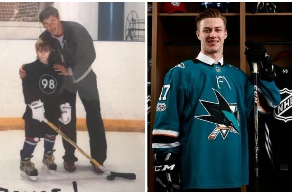 Слева —маленький Ваня и его кумир Павел Дацюк, справа —19-летний Иван в команде НХЛ