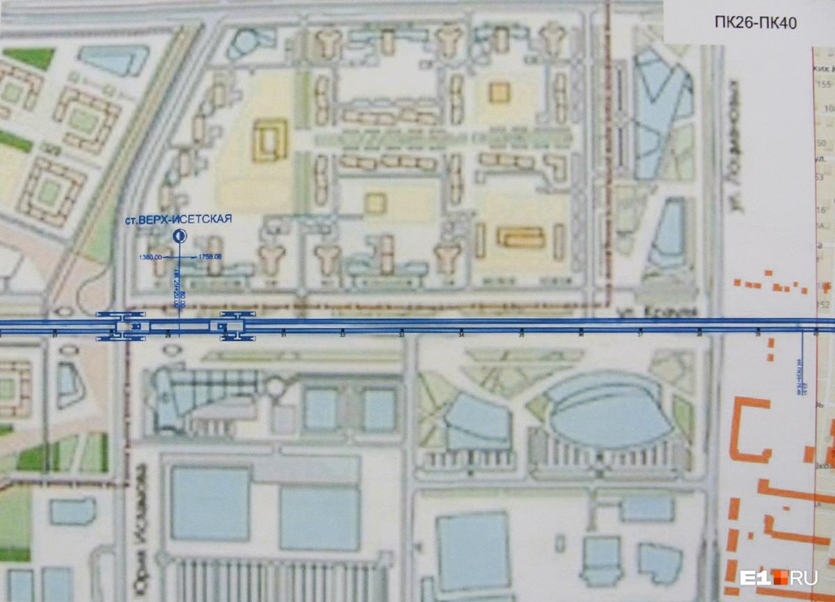 Схема расположения станции «Верх-Исетская»