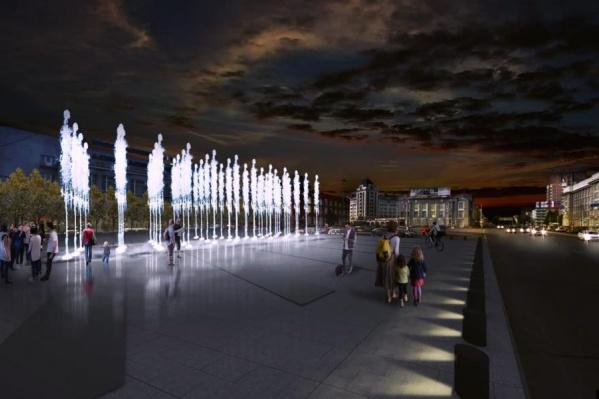 Так будет выглядеть площадь Ленина без автомобилей. Вид от входа на станцию «Площадь Ленина» в краеведческом музее в сторону Вокзальной магистрали
