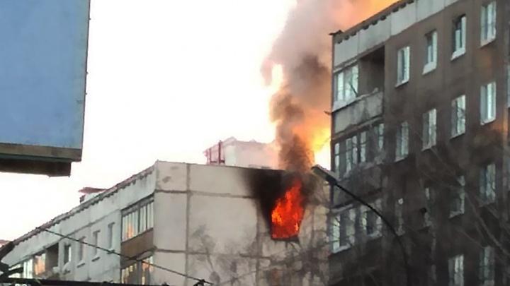 Огонь лезет из окна: на Красина загорелась квартира в девятиэтажке