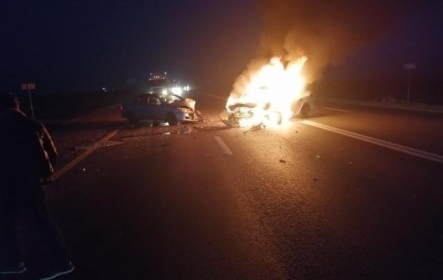 Появилось видео автомобиля, в котором сгорели люди на трассе М-4 «Дон»