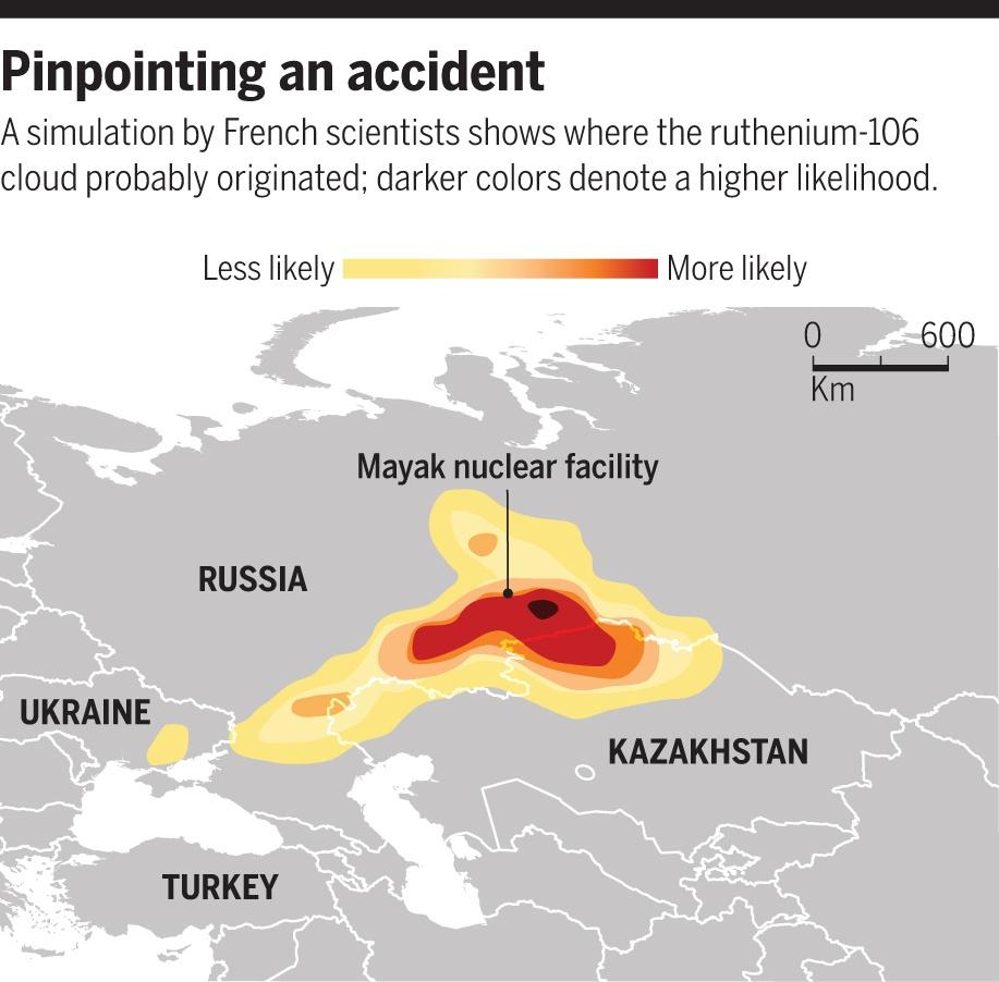 Одна из ранних инфографик, которая указывала расчётную вероятность выброса: чем темнее цвет, тем больше шансов. ПО «Маяк» находится недалеко от «очага» вероятностей