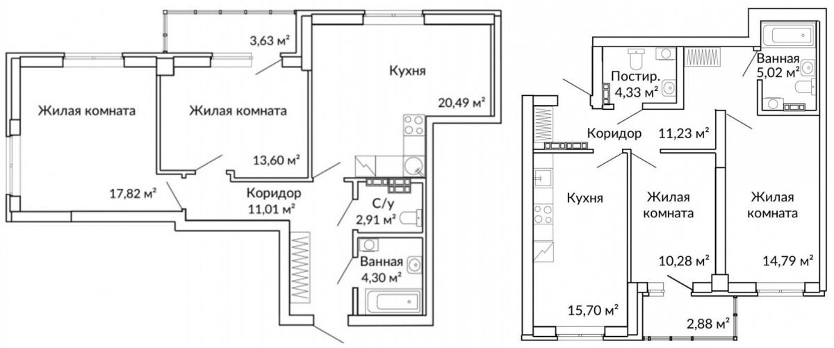 Самая просторная двушка по факту полностью закрывает функционал трёхкомнатной квартиры. 20-метровая кухня-гостиная — территория для семейного времяпрепровождения и встречи гостей