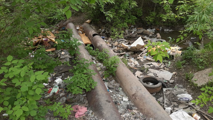 Найди десять отличий: мэрия отчиталась об уборке берегов реки, но мусор остался на месте