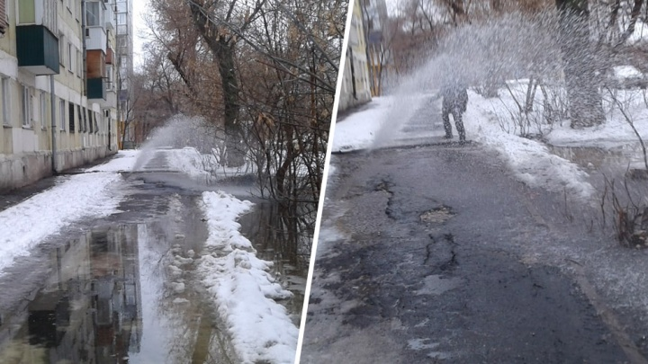 Забил фонтан: в Самаре ковшом трактора повредили трубу с холодной водой