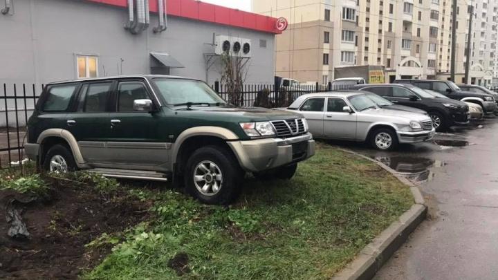 Я паркуюсь, как: будто этот газон лучшее место для моей машины