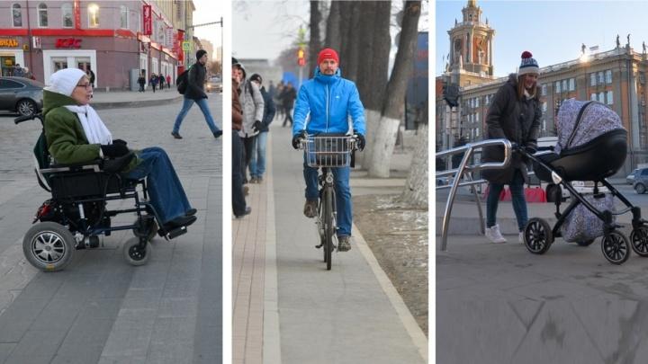 Тест-драйв Е1.RU: инвалид, водитель, велосипедист и мама с коляской оценили обновлённый проспект Ленина