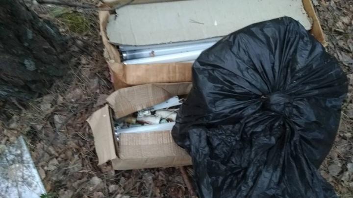 В Калиновском лесопарке горожане наткнулись на свалку ртутных отходов