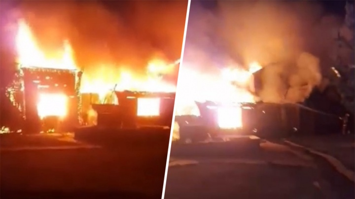 Пламя выжгло всё: видео крупного пожара в шигонском комплексе отдыха