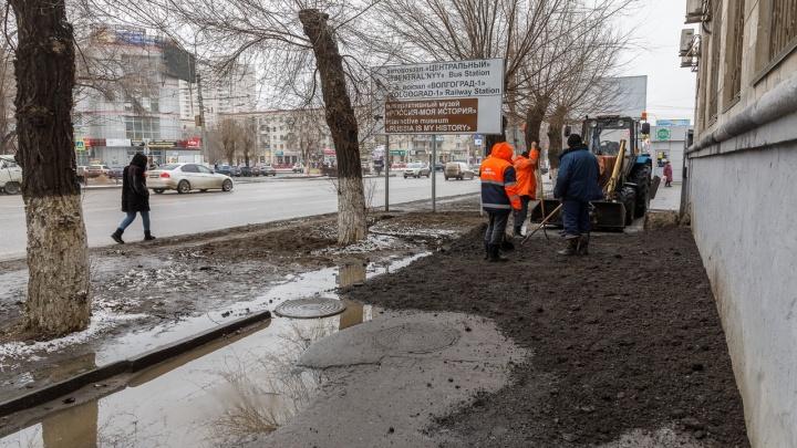 Похоже, не воскреснет: историческую лужу в центре Волгограда похоронят под слоем асфальта
