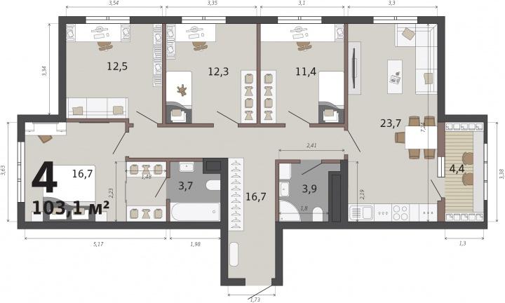 А в этой квартире есть мастер-спальня