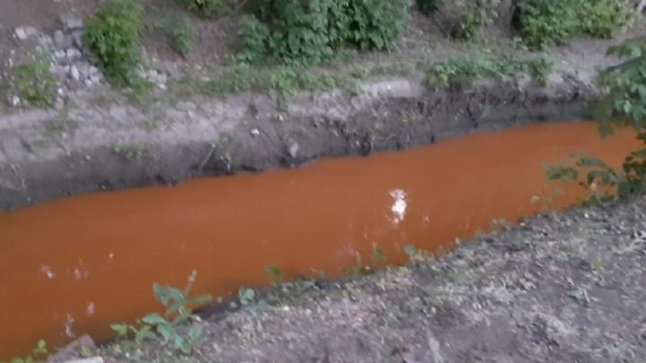 В Минлесхозе объяснили ярко-оранжевый цвет воды в реке Орловке