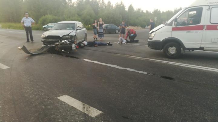 Под Верхней Пышмой в аварии погиб мотоциклист, которому водитель авто не уступил дорогу