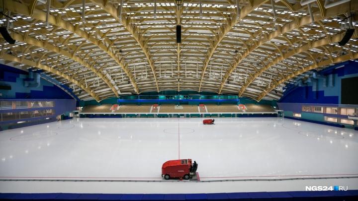 Новый стадион «Енисей» запускает массовые катания на самой большой ледовой арене