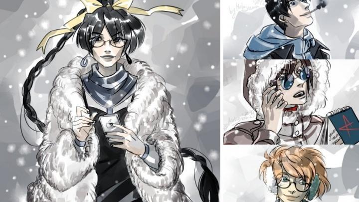 Тюмень в белых мехах: художница показала российские города зимой, если бы они были героями аниме