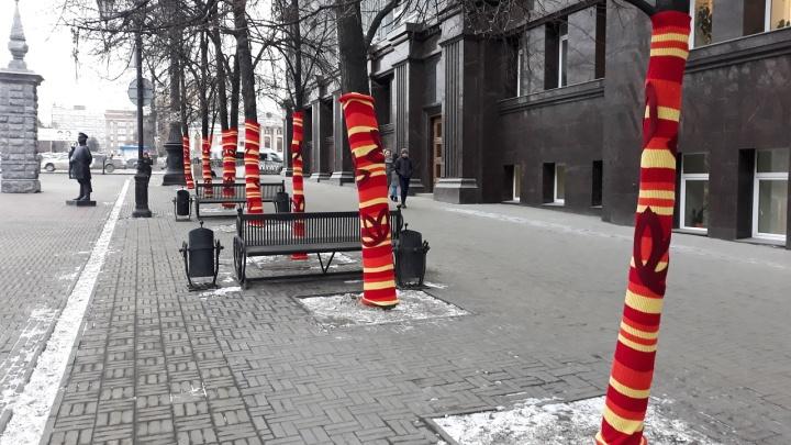 В Челябинске нарядили деревья в вязаные чулки