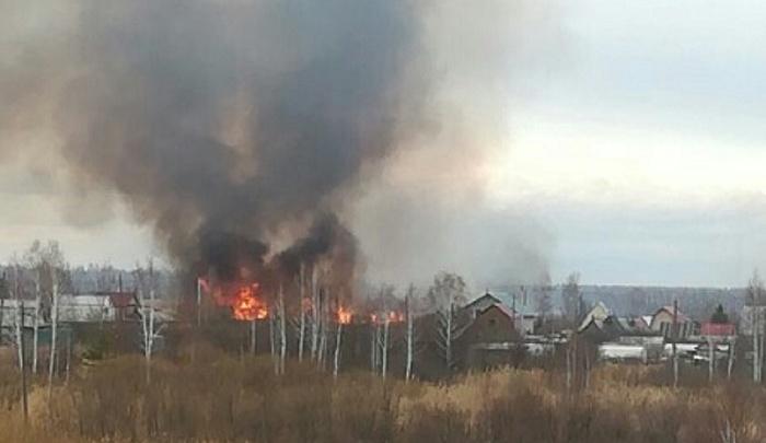 Серьезный пожар у СНТ «Липовый остров»: рядом с жилыми домами вспыхнули трава и камыш