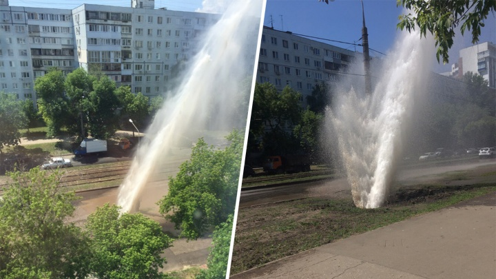 Горячий душ для машин: на Ново-Вокзальной из-под земли забил гейзер высотой с девятиэтажку