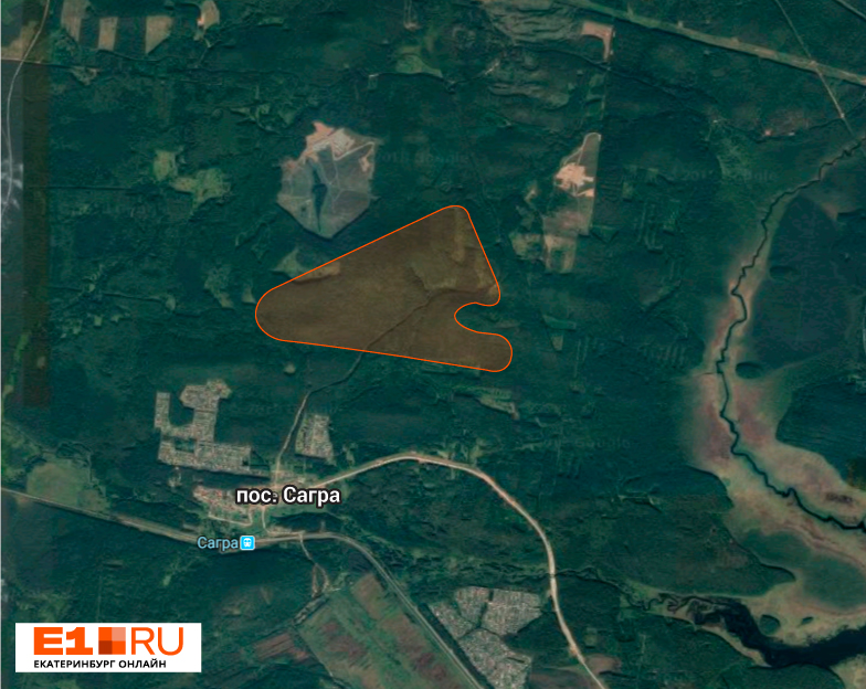 Вот так выглядит место, где будут карьеры, на спутниковой карте. Выемка справа — это как раз Сагра-2, которую исключили из горного отвода